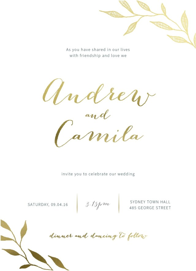 Wedding Invitation Images Leaves Real Foil Wedding Invitations