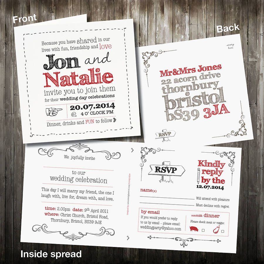 Wedding Invitation Rsvp Personalised Sketch Wedding Invitation With Rsvp Violet Pickles
