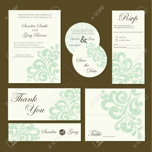Wedding Invitation Rsvp Set Of Wedding Invitation Cards Invitation Thank You Card
