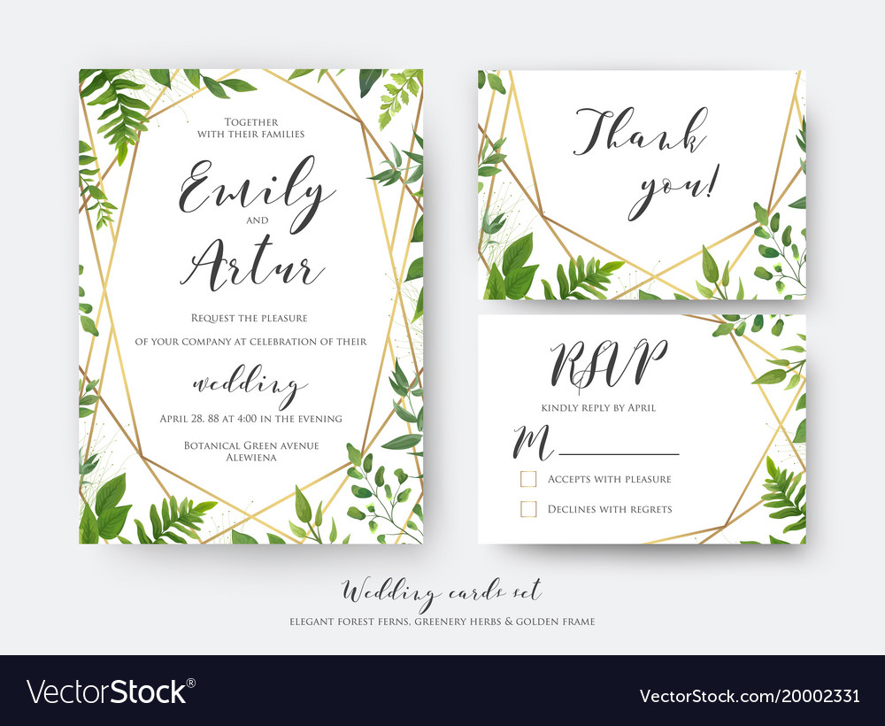 Wedding Invitation Rsvp Wedding Floral Invite Invitation Rsvp Thank You Vector Image