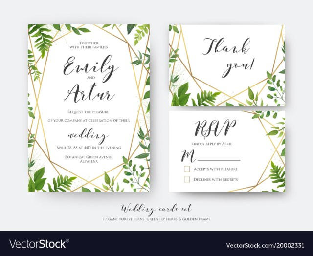 Wedding Invitation Rsvp Wedding Floral Invite Invitation Rsvp Thank You Vector Image