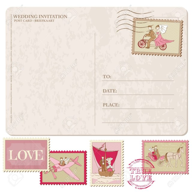 Wedding Invitation Stamps Wedding Invitation Vintage Postcard With Postage Stamps For