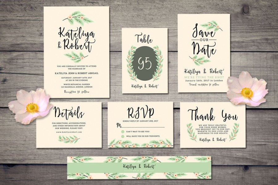 Wedding Invitation Suites Nature Wedding Invitation Suite