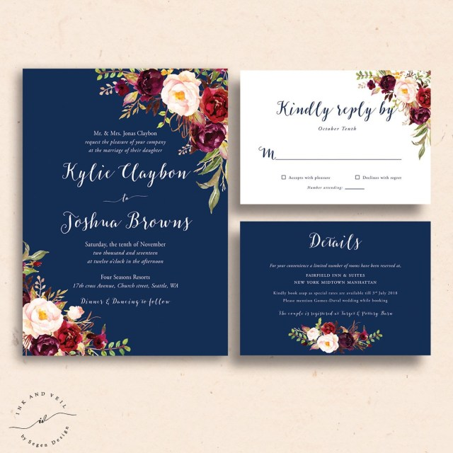 Wedding Invitation Template Free Make Your Own Wedding Invitations Templates Free Navy Floral Wedding