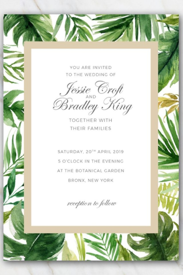 Wedding Invitation Template Free Tropical Palm Tree Leaves Wedding Invitation Template Free
