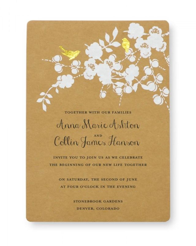 Wedding Invitations Printing Print At Home Invitation Kit Gold Foil Birds Gartner Studios