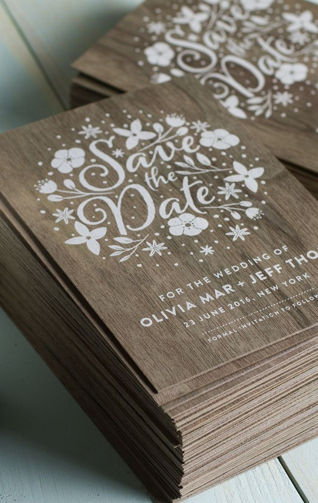 Wedding Invitations Printing Stunning Wedding Invites Produced On Real Wood With White Printing