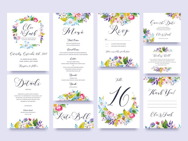 Wedding Invitations Sets Free Flower Wedding Invitation Set Graphic Delivery