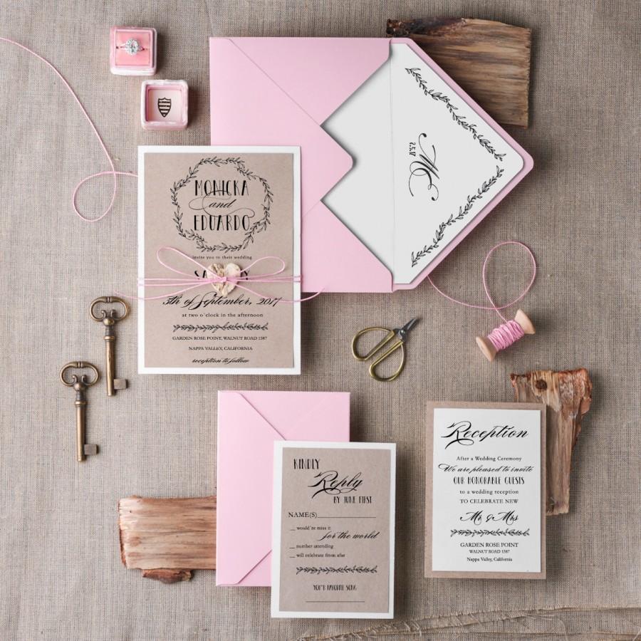 Wedding Invitations Sets Wedding Invitation Suite 20 Wedding Invitation Rustic Pink