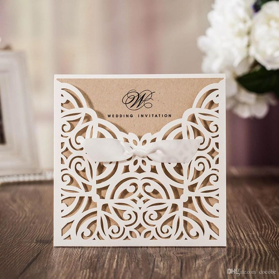 Wedding Invitations Sets Wedding Invitations Kit With Ivory Laser Cut Invites Cards Elegant