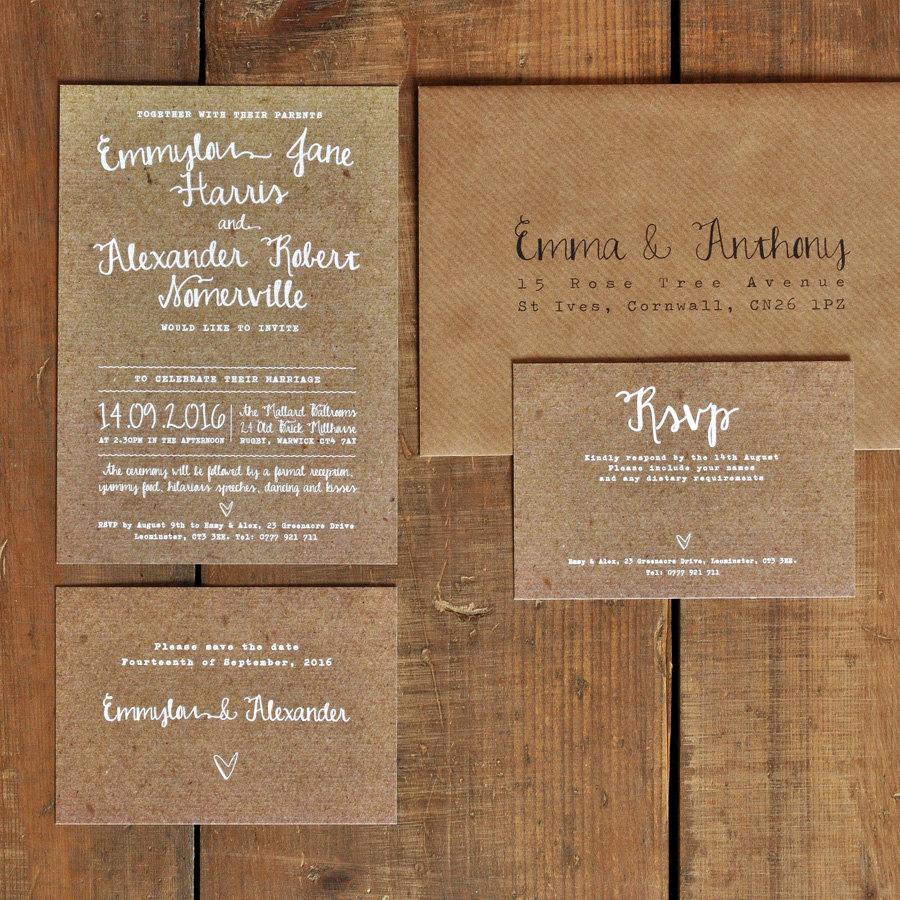 Wedding Invitations Sets White Calligraphy Kraft Effect Rustic Wedding Invitation Set