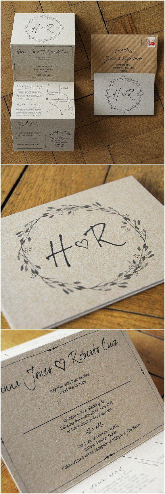 Wedding Invitations Sets Woodland Story Rustic Concertina Wedding Invitation On Kraft Card