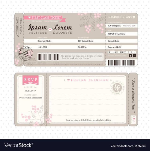 Wedding Invitations Template Boarding Pass Wedding Invitation Template Vector Image