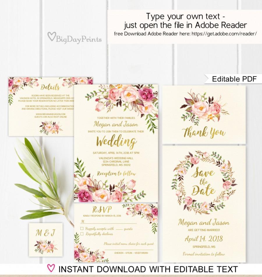 Wedding Invitations Template Floral Wedding Invitation Template Ivory Boho Chic Wedding Invite