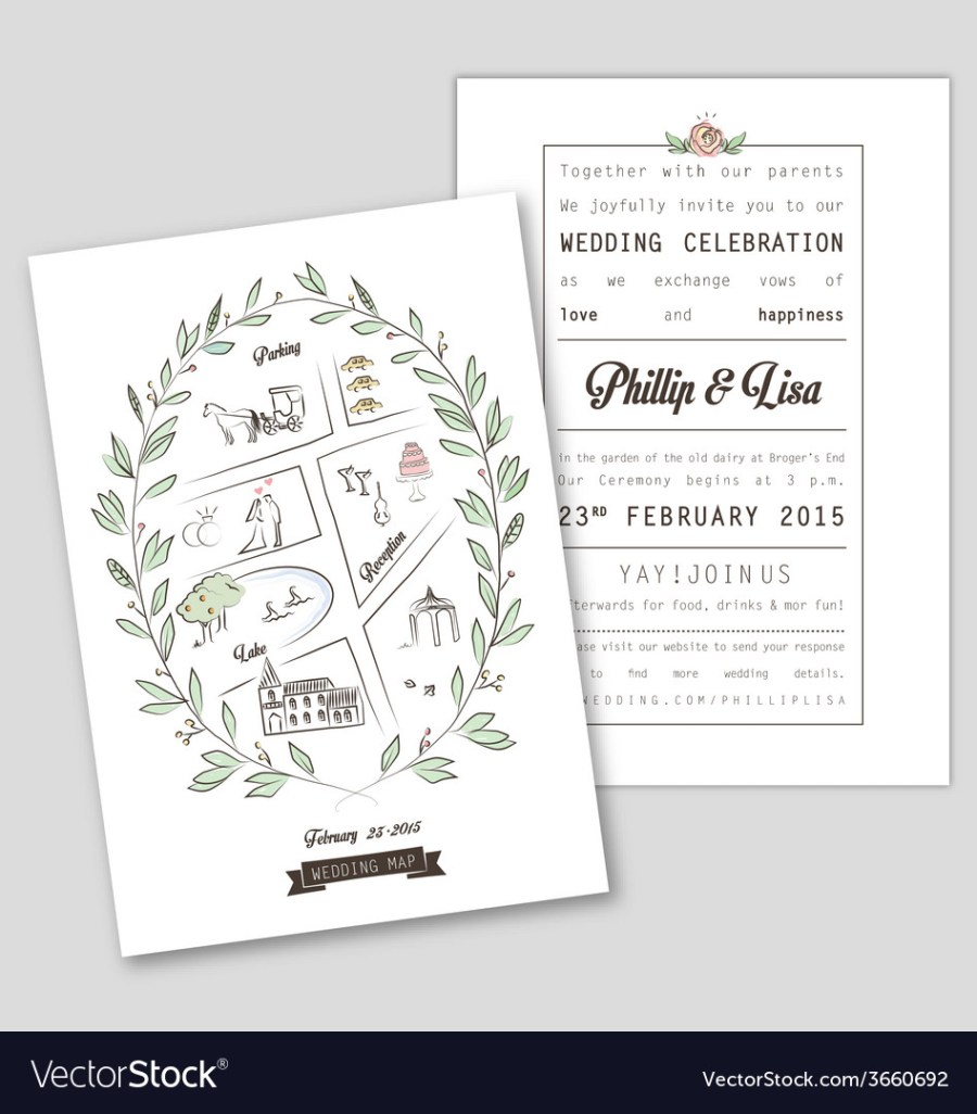 Wedding Invitations Template Wedding Invitation Template With Map Royalty Free Vector