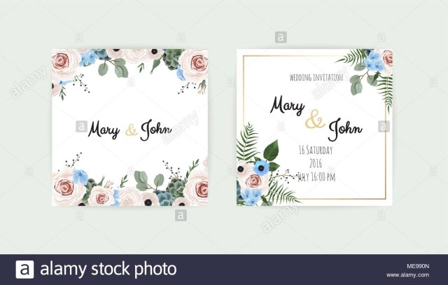 Wedding Invitations Template Wedding Set With Invitations Vector Set Of Vintage Floral Wedding