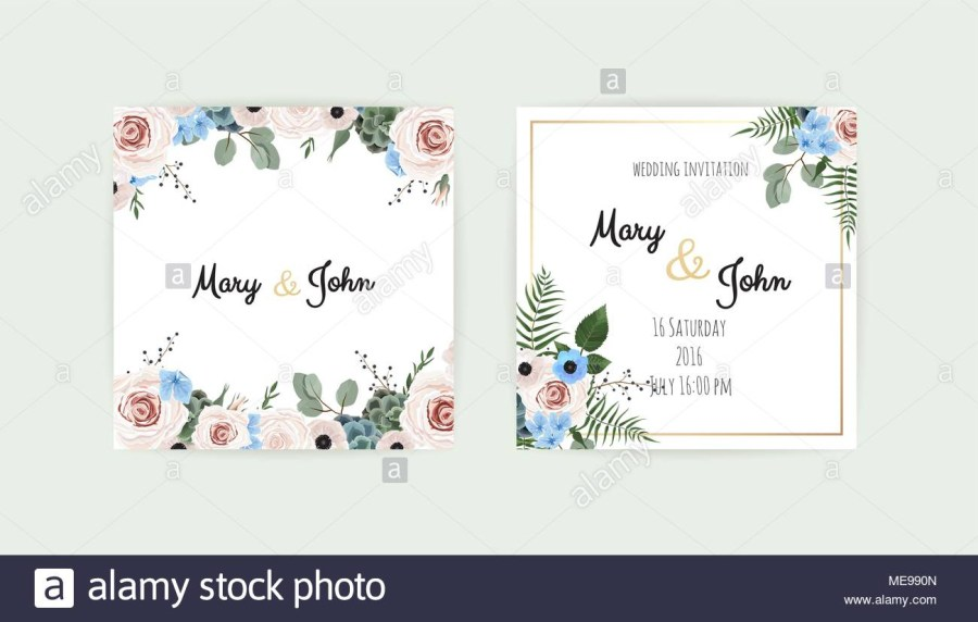 Wedding Invitations Template Wedding Set With Invitations Vector Set Of Vintage Floral Wedding