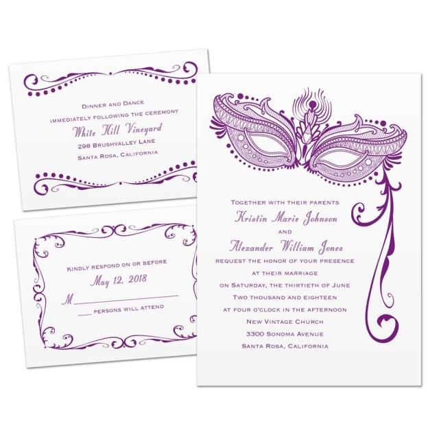 Wedding Invitations Under 1 Masked Mystique 3 For 1 Invitation Invitations Dawn