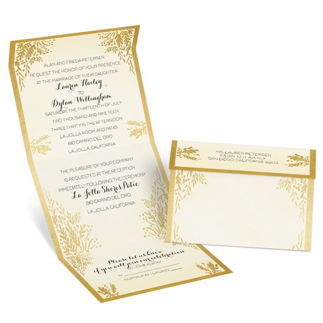 Wedding Invitations With Photo Ferns Of Gold Seal And Send Invitation Anns Bridal Bargains