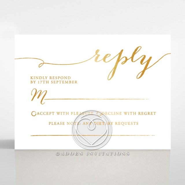 Wedding Invitations With Rsvp Modern Elegance Luxurious Gold Foil And White Rsvp Card