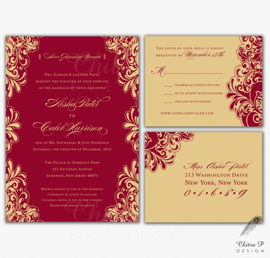 Wedding Invitations With Rsvp Red Gold Wedding Invitations Rsvp Printed Indian Chitrap Mlwi