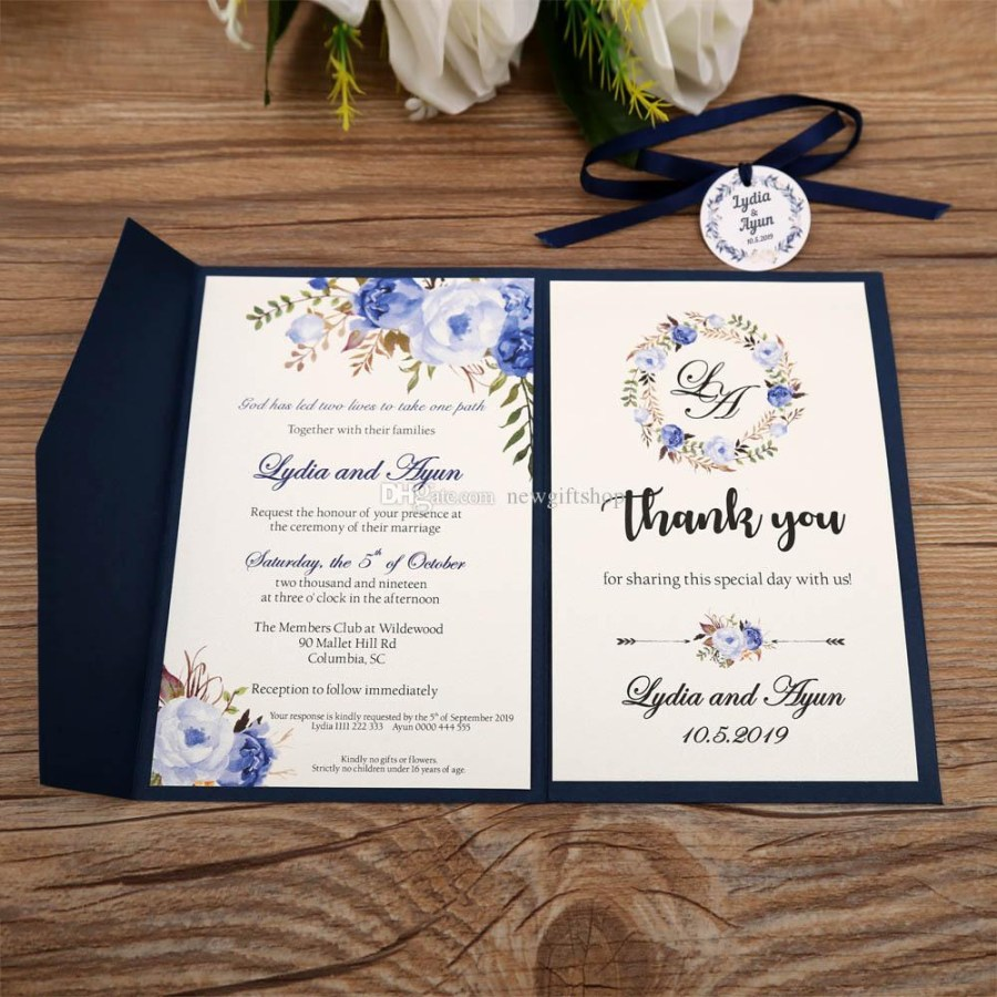 Wedding Invitations With Rsvp Trifold Pocket Wedding Invites 2019 Navy Blue Printable Customized