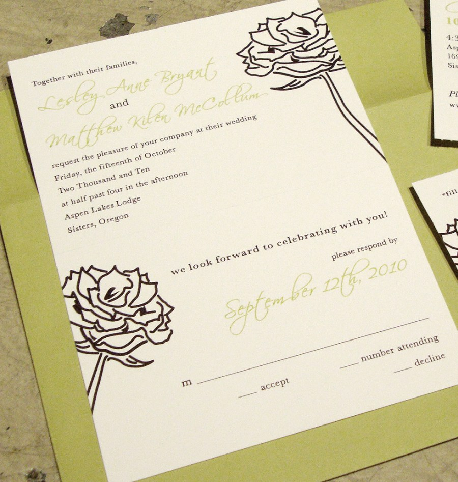 Wedding Invitations With Rsvp Wedding Invitation Tear Off Rsvp Postcard Papercake Designs
