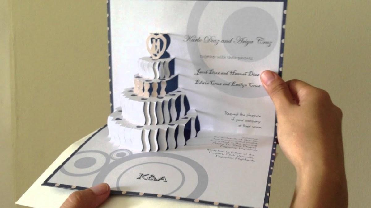 Wedding Pop Up Invitations 3d Pop Up Wedding Cake Invite Youtube