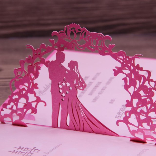 Wedding Pop Up Invitations Fuchsia Invitation Wedding Card Laser Cut Art Paper 3d Pop Up Design