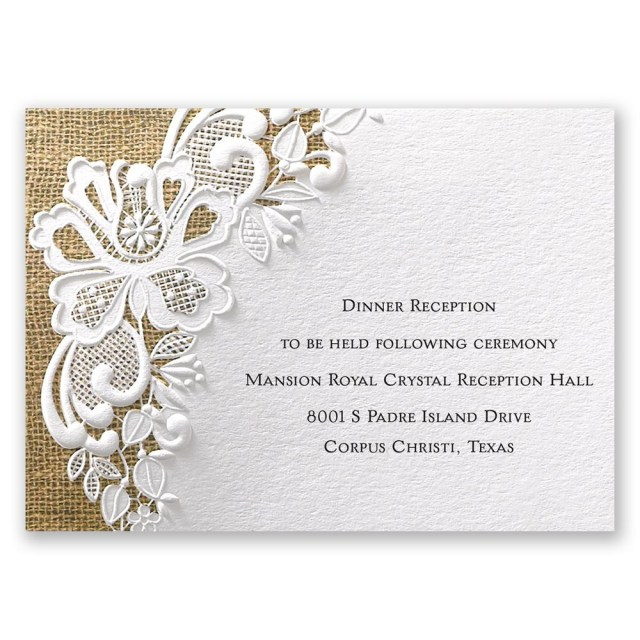 Wedding Reception Invitation Lacy Dream Invitation Invitations Dawn