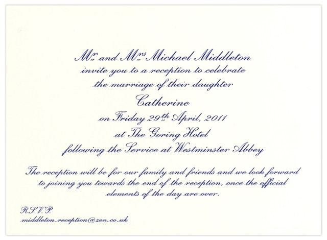 Wedding Reception Invitation Lot Detail Prince William And Kate Middleton Wedding Reception