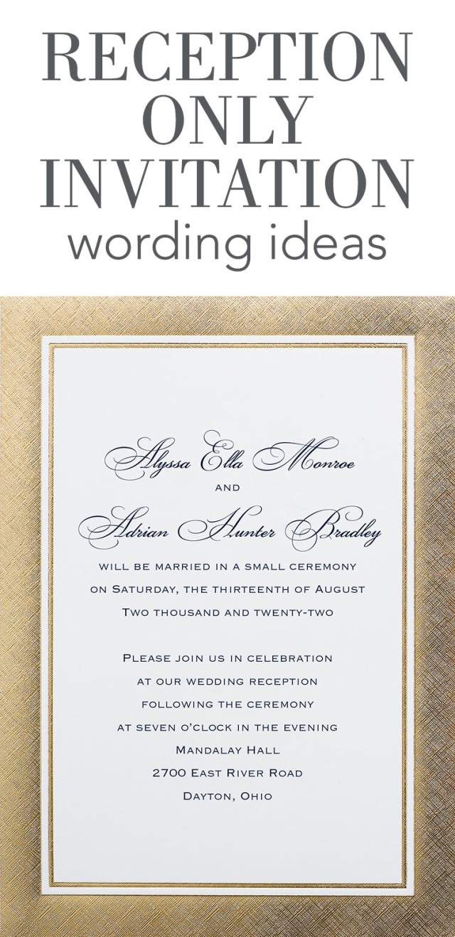 Wedding Reception Invitation Reception Only Invitation Wording Invitations Dawn