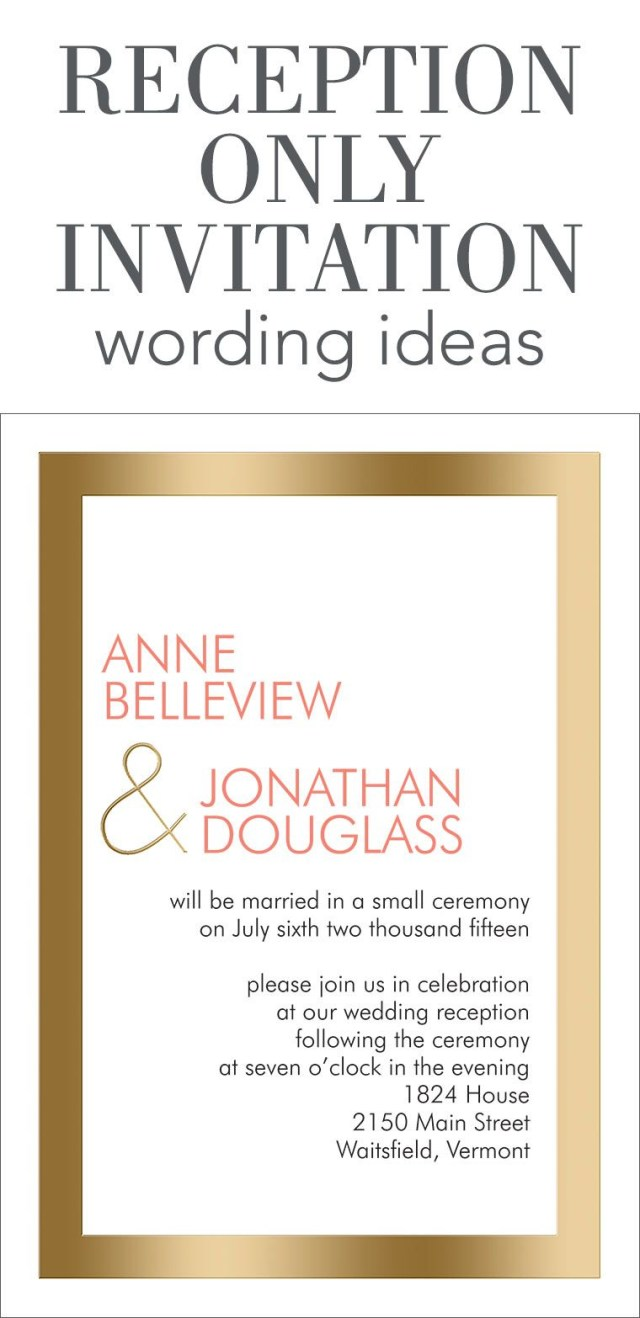 Wedding Reception Invitation Reception Only Invitation Wording Wedding Help Tips Pinterest