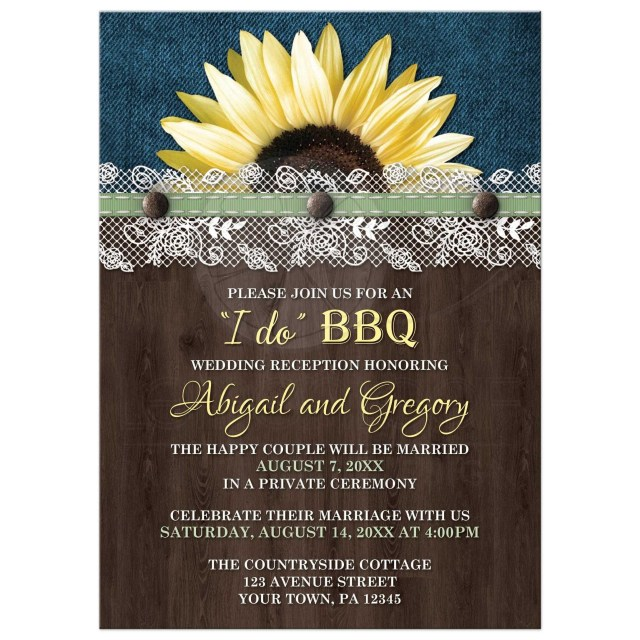 Wedding Reception Invitation Reception Only Invitations Sunflower Denim Wood Lace I Do Bbq