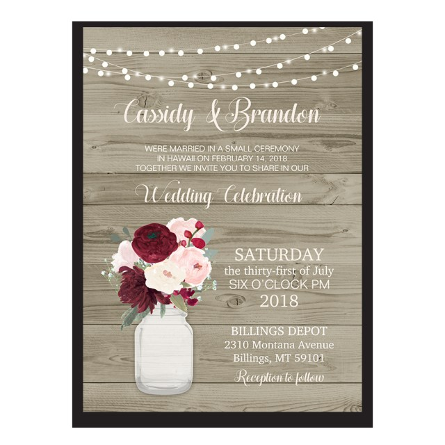 Wedding Reception Invitation Rustic Wedding Reception Only Invitation Mason Jar