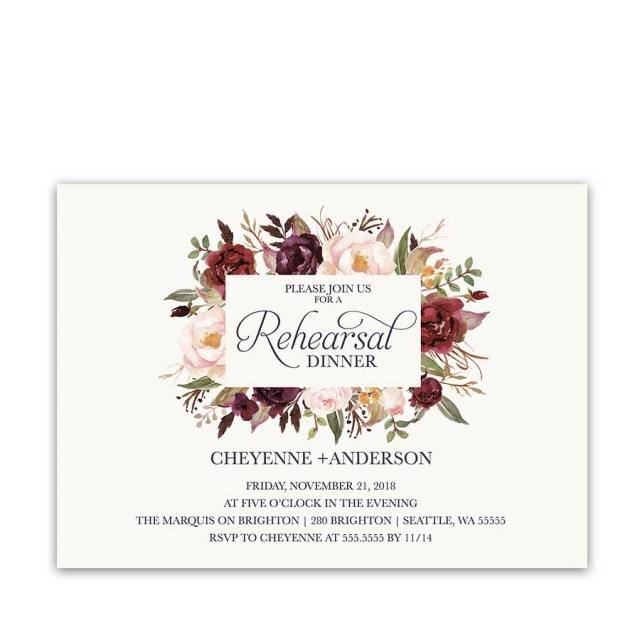 Wedding Rehearsal Dinner Invitations Floral Wedding Rehearsal Dinner Invitations Burgundy Wine