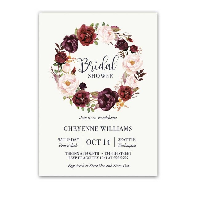Wedding Shower Invites Burgundy Floral Bridal Shower Invitation Watercolor Wreath