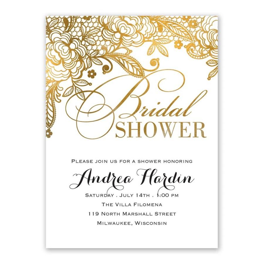 Wedding Shower Invites Gold Lace Bridal Shower Invitation Anns Bridal Bargains