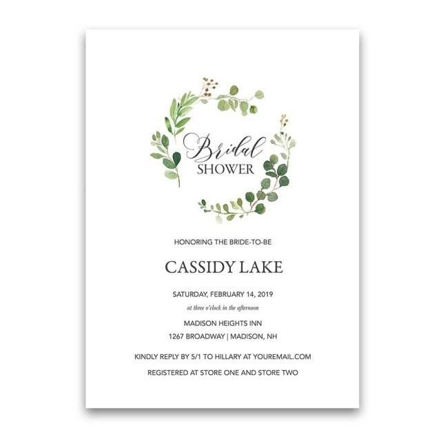 Wedding Shower Invites Greenery Bridal Shower Invitations Eucalyptus Wreath Modern