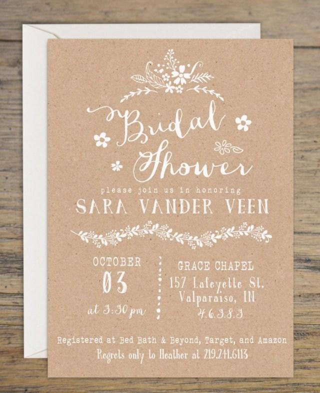 Wedding Shower Invites Kraft Bridal Shower Invitation Bridal Shower Invitations Wedding