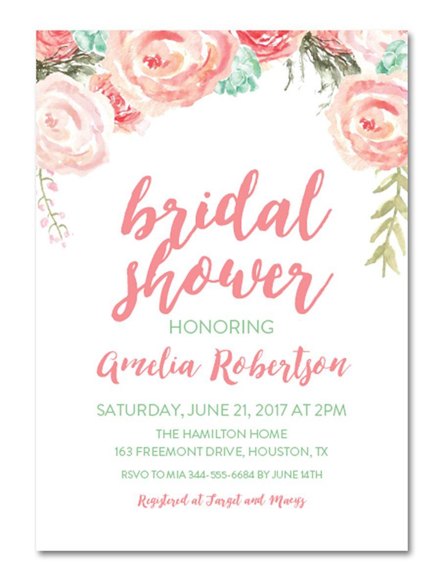 Wedding Shower Invites Mint And Blush Watercolor Florals Instant Download Diy Bridal Shower
