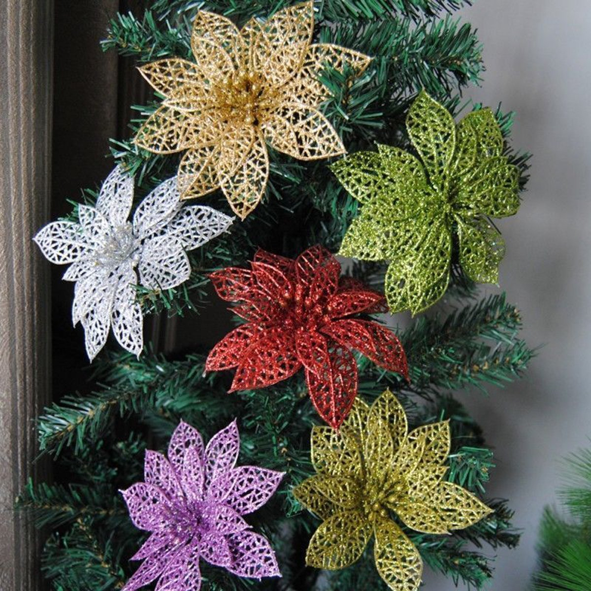 Wedding Tree Decorations Zerone Zerone Christmas Flowers Glitter Hollow Wedding Party Decor