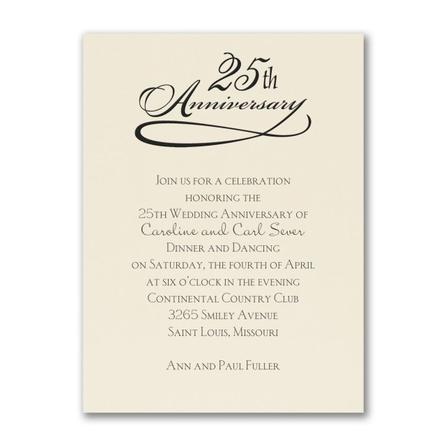 Wedding Vow Renewal Invitations 25 Years Celebration Invitation Ecru Party Anniversary