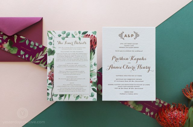 Winery Wedding Invitations Yesterday Creative Letterpress Wedding Invitations Floral Natives