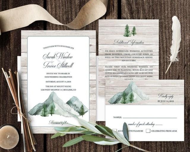Woodsy Wedding Invitations Mountain Wedding Invitation Printable Forest Wedding Invitations