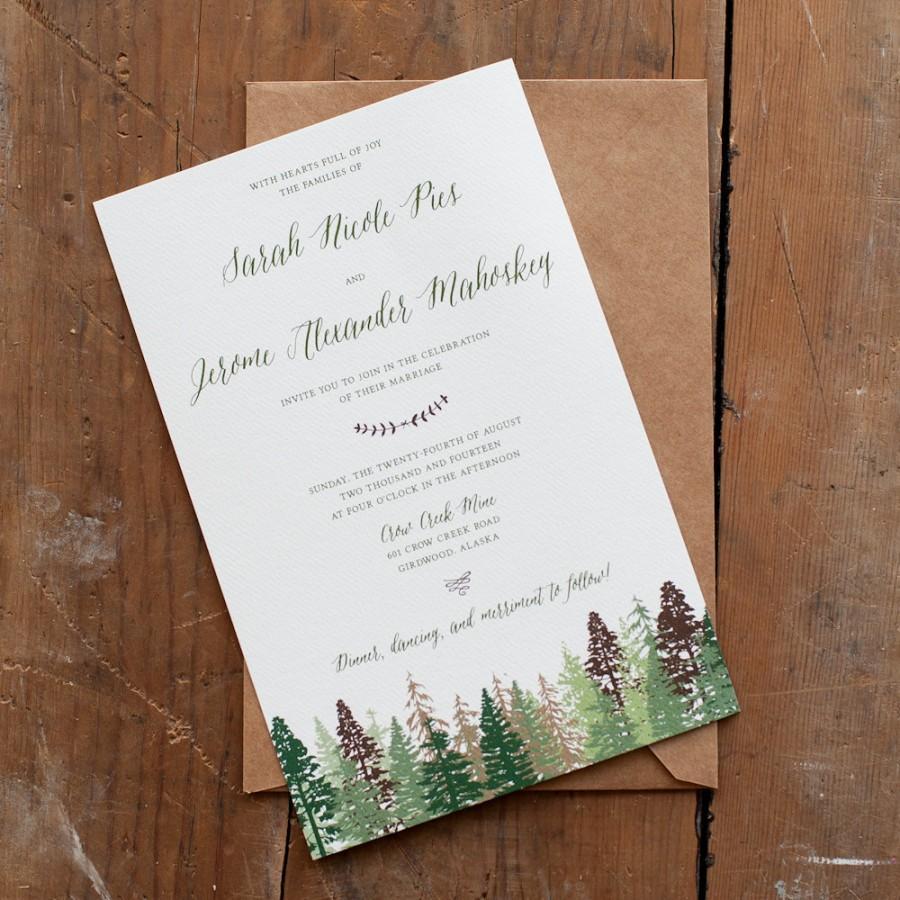 Woodsy Wedding Invitations Wedding Invitation Tree Wedding Invitation Mountain Wedding