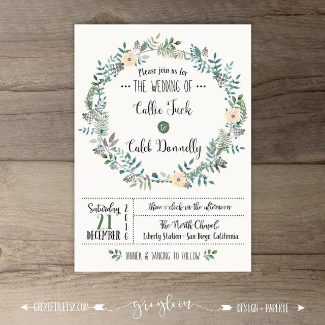 d2c43cc9e11 Woodsy Wedding Invitations Woodsy Wedding Invitations Spring Wedding Leafy  Wreath Floral