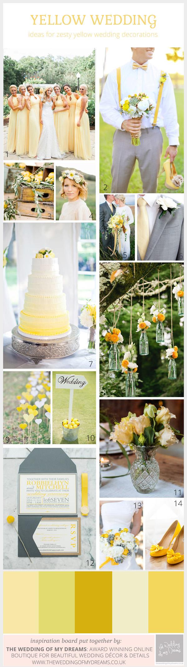 Yellow Wedding Decorations Spring Weddings Zesty Lemon Yellow Wedding Inspiration