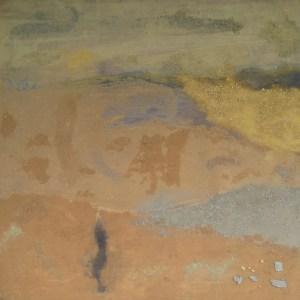 Gylden jord Sand på træ 60x60 cm 2015 Privateje