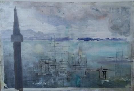Luftspejling Collage 41x27 cm 2500 kr.